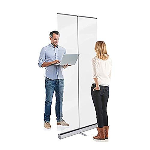 F-XW Mampara de Protección, Banner Enrollable Transparente, Protector De Estornudo, En Pie Divisor Pantalla, para Oficinas y Tiendas, 60 × 160 cm, 100 × 200 cm