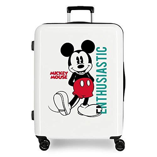 Disney Mickey Enthusiastic Maleta Mediana Blanco 48x70x26 cms Rígida ABS Cierre TSA 81L 2 kgs 4 Ruedas Dobles