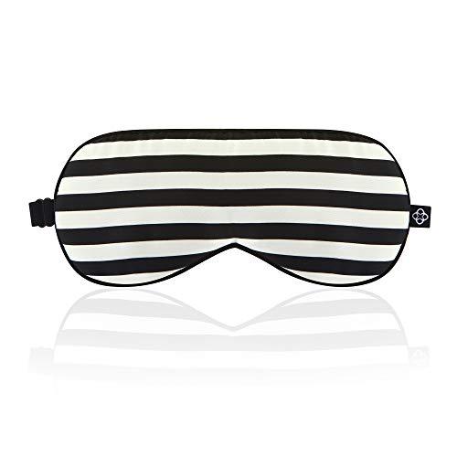 LONFROTE Mit Naturseide gefüllte Schlafaugenmaske, mit Ohrenstöpsel und Tragetasche, leicht & bequem & verstellbar, super glatt für Männer und Frauen ideal für Reisen (B-W-Streifen)