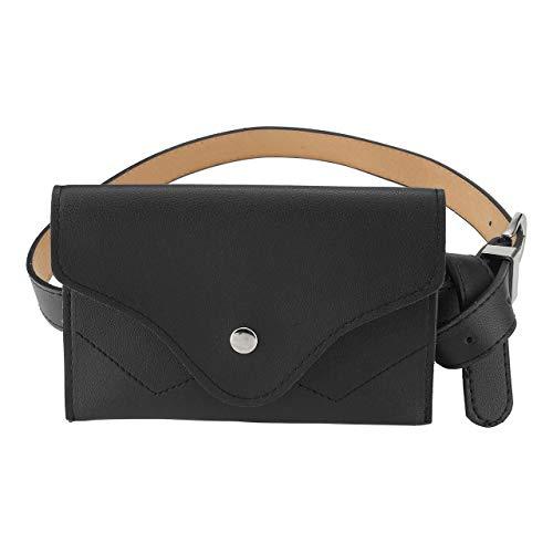 CHIC DIARY Damen Mädchen Gürteltasche Hüfttaschen Bauchtasche Umschlag Tasche mit Taillengürtel aus PU Leder Wasserdicht, Schwarz, Einheitsgröße
