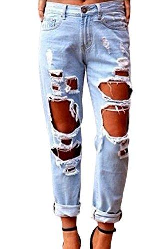 YACUN Damen Boyfriend Destroy Jeans Sommer Löcher Hose Ripped Jeanshosen Mit Loechern Röhrenjeans Bleistifthose Blau XL