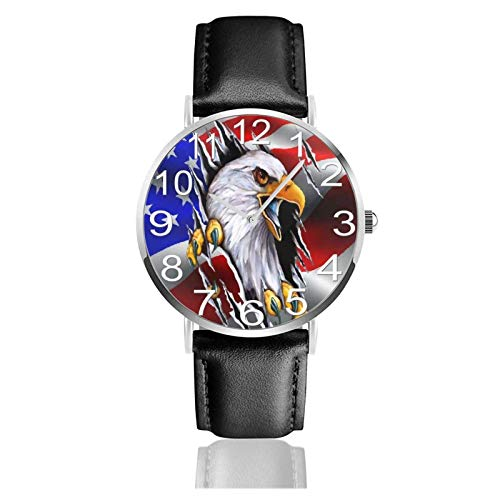 Reloj de Pulsera American Flag Eagle Durable PU Correa de Cuero Relojes de Negocios de Cuarzo Reloj de Pulsera Informal Unisex