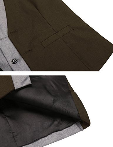JINIDU Dress Suit Layered Vest Slim Fit V Neck Patchwork Business Formal Vest Waistcoat