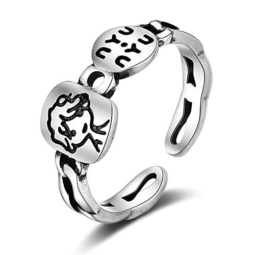 SHENSHI Anillos Mujer,Anillos Ajustables,Retro Creative Prince Boy Letters Cool 925 Sterling Silver Fashion Temperament Anillos Dulces para Mujeres,Plata,Talla Única