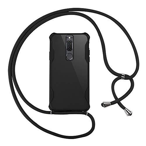 xinyunew Funda Colgante movil con Cuerda para Colgar Huawei Mate 10 Lite - Carcasa de móvil Caja del teléfono Collar Colgante Ajustable cordón Funda para teléfono con cordón -Negro