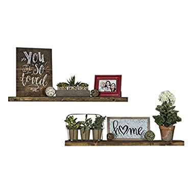 Floating Wall Shelves (Set of 2), Handmade Shelf Made of Rustic Pine by del Hutson Designs (2 x 36  x 5.5-Inch), Dark Walnut Color