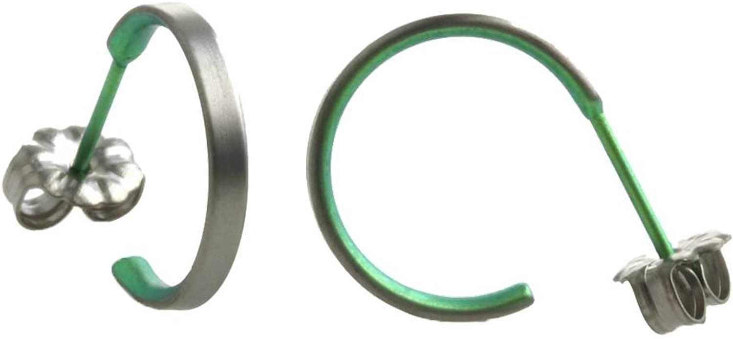 Ti2 Titanium Womens Small Hoop Earrings  Fresh Green