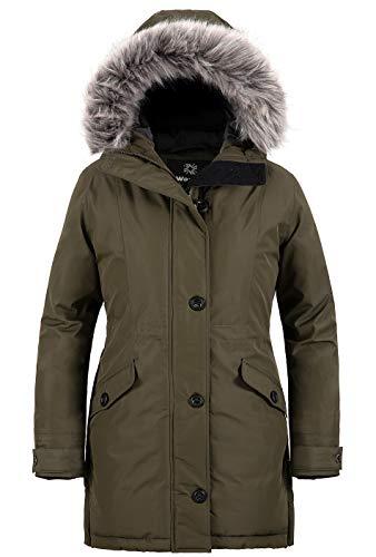 Wantdo Jacket Outdoor Casual Cappotto Medio Lungo Parka Idrorepellente Imbottita Giacca con Cappuccio Donna Verde Militare M