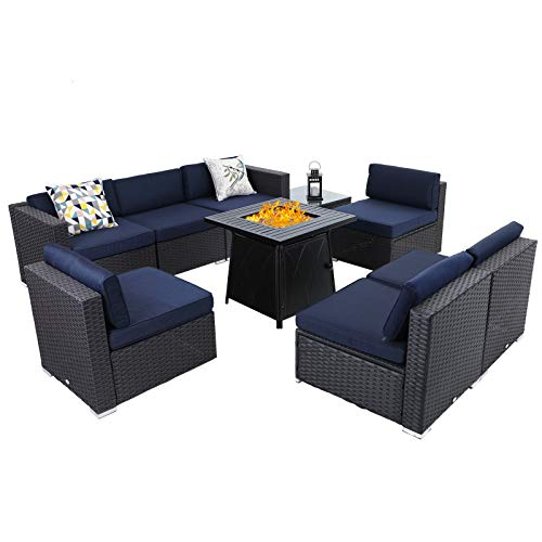 Sophia & William Patio Furniture Sectional Sofa Set with Gas Fire Pit Table 9 Piece Wicker Rattan Outdoor Conversation Sets W Coffee Table, CSA Approved Propane Fire Pit (Navy Blue-Square Table)