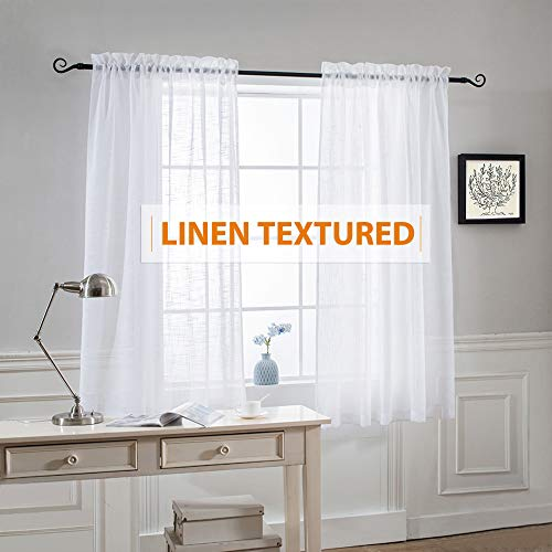 White Semi Sheer Curtains Linen - Home Decoration Open Weave Privacy Sheer Window Treatments Panels for Bedroom Nursery Kitchen Bathroom, White, Each Panel 52 Wide by 45 Long inch, Set of 2