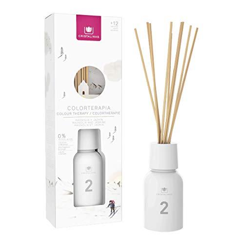 CRISTALINAS Ambientador Mikado Colorterapia de 125ml. Cristal Blanco, con más de 12 semanas de duración. Aroma Magnolia y Jazmín. (125ml) (125ml)