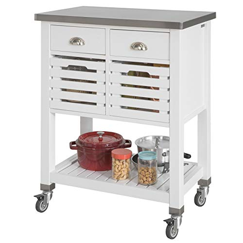 SoBuy Carrello Cucina Acciaio Mobile Cucina salvaspazio con 2 cesti e 2 cassetti Bianco Piano in Acciaio L73*P46*A92 cm FKW83-W