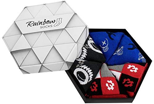 Rainbow Socks - Mujer Hombre Calcetines Mechanico Regalo - 3 Pares - Talla 41-46