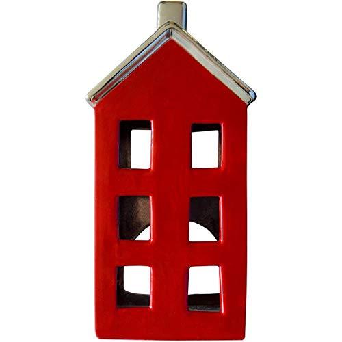 HANTERMANN Deko Windlicht Haus rot | Windlicht aus Porzellan | Porzellan Deko Weihnachten | Höhe 18 cm | Weihnachtsdekoration | Made in Germany