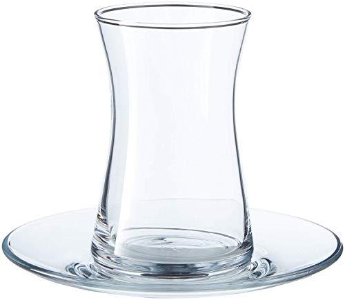 Pasabahce 95290 Heybeli Teeset 165ml, 4 Teegläser und Untertassen, 308 ml, Glas, transparent, 1 Set