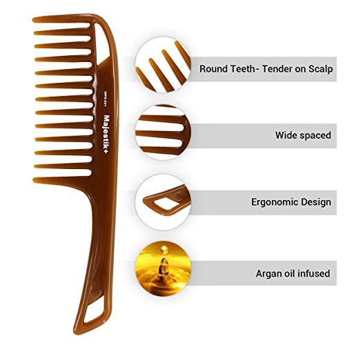 Peigne à cheveux peigné à l'huile d'essence naturelle par Majestik +, à large dent, brun, peigne déchirant (MPO-021)