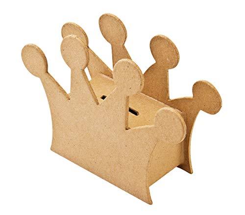 Pappmaché Spardose Krone 16,5x12x5,5cm mit Verschluß Sparbüchse Decoupage basteln Papp Büchse Box Gelddose Krönchen Geldgeschenk