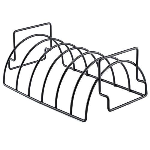Petyoung Parrilla de asado con superficie antiadherente, soporte de costillas de hierro, perfecta para asar, asar, camping