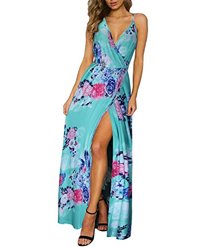 II ININ Women's Deep V-Neck Casual Dress Summer Backless Floral Print Split Maxi Dress for Beach Party(Floral04,L)
