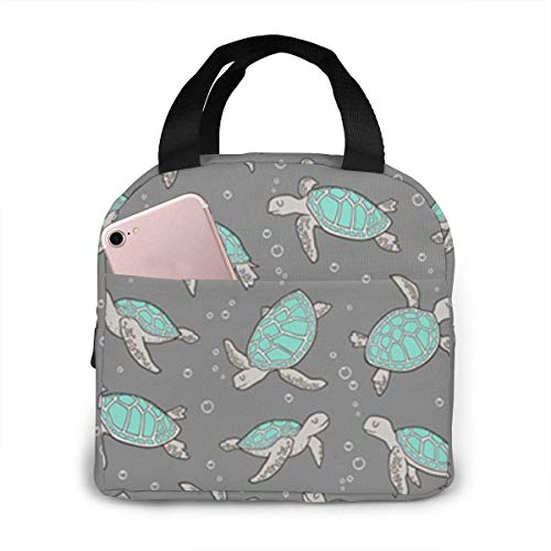 Sea Turtles Mint Green Nautical Ocean Green On Grey Portable Insulated Lunch Bag Women & Men Reusable Lunch Tote C