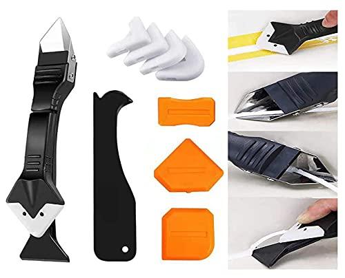 Silicone Caulking Tool, Caulk Remover, Glass Glue Angle Scraper, 3 in 1 Silicone Caulking Tool Kit - Caulk Removal Tool