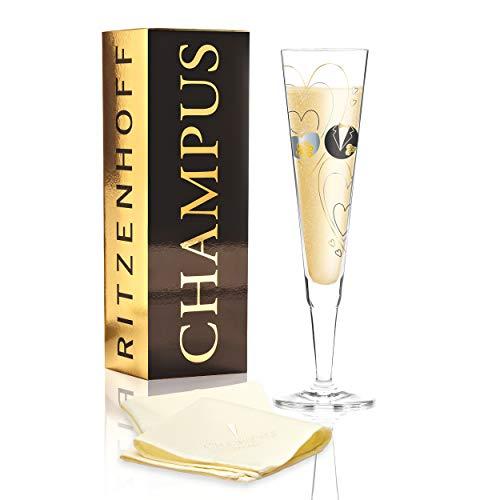 RITZENHOFF Champus Champagnerglas von Sandra Brandhofer, aus Kristallglas, 200 ml, mit edlen Gold- und Platinanteilen, inkl. Stoffserviette