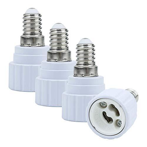 Intirilife E14 auf GU10 Lampensockel Adapter in Weiss – 4X Lampenadapter zum Umformatieren von E14 auf GU10 – 4er Set Konverter für Lampenfassung für LED Glühbirnen