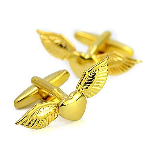 ZLI Hombre Gemelos Gemelos para Hombre Personalizados Oro - Alas de Ángel, Decor de Gemelos de Camisa Francesa para el Día de San Valentín/Graduación/Boda