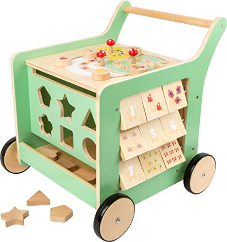 small foot wooden toys Premium Pastel Wooden Baby Walker and playcenter Move it! Designed for Toddlers 12+ Months, Multi (10947)