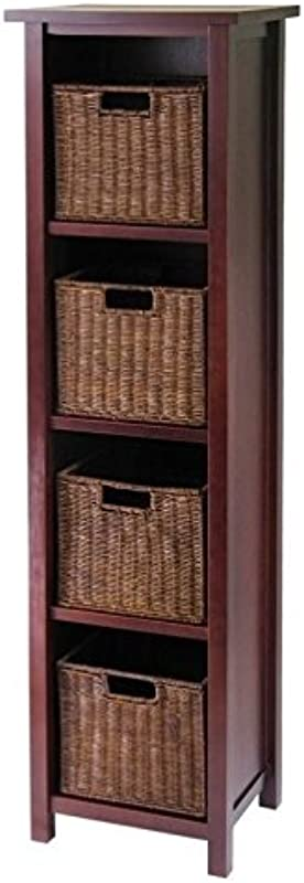 Pemberly Row 5 Tier Tall Storage Shelf With 4 Wired Baskets In Antique Walnut