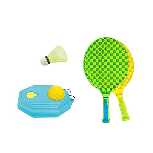 XMY 2-en-1 Kit de Tenis de los niños Trainer, Auto Pista de Práctica Rebounder Bola con la Placa Base y la Cuerda Larga (1 + 1 PU Tenis Badminton plástico)