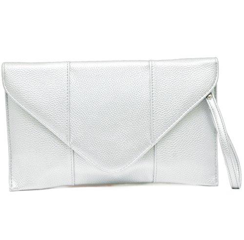 Vain Secrets© Abendtasche Umschlag Clutch mit Schulterriemen in 3 Farben (Silber)