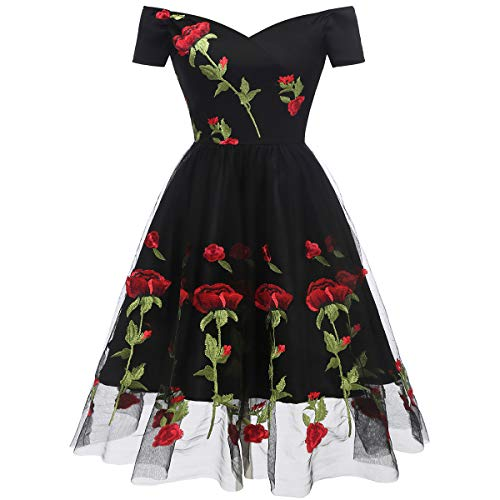 Women's Vintage Off Shoulder Rose Embroidered Flower 1950s Evening Prom Party Dress Retro Rockabilly Short Sleeves Tulle Lace Wedding Formal Gown Cocktail A Line Midi Swing Dress D-Black XX-Large
