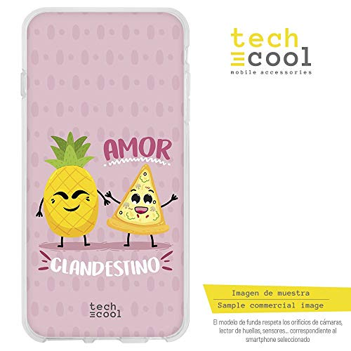 Funnytech Funda Silicona para Xiaomi Mi A2 [Gel Silicona Flexible, Diseño Exclusivo] Frase Amor piña y Pizza Rosa