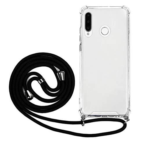 Handykette Handytasche Kompatible für Huawei P30 Lite Hülle Silikon Case Transparent Cover Handyhülle Umhängeband Trageschlaufe Kordel Lanyards Schutzhülle Schnur Bumper Hand Strap Anhänger-Schwarz