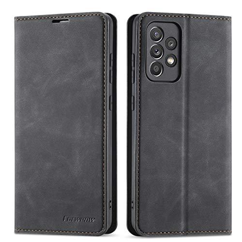 QLTYPRI Funda para Samsung Galaxy A72, Premium PU Funda de cuero TPU Bumper con titular de la tarjeta Kickstand Adsorción magnética oculta Flip Wallet Case Cover para Samsung Galaxy A72 - Negr