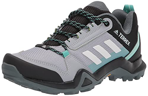 adidas outdoor Women's Terrex AX3 Hiking Boot, Halo Silver/Crystal White/Acid Mint, 8