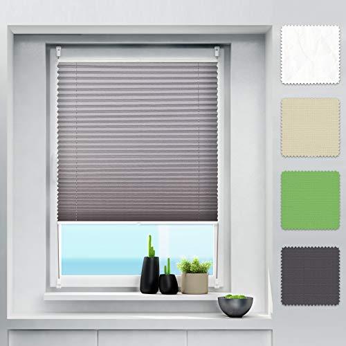 Plissee Klemmfix ohne Bohren Jalousien Rollo, Plisseerollo mit klemmträger, Faltrollo sichtschutz und Sonnenschutz, Plissee Rollo für Fenster und Tür - Anthrazit 80 x 130 cm