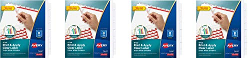 AVERY 8-Tab Extra Wide Binder Dividers, Easy Print & Apply Clear Label Strip, Index Maker,White, 5 Sets (11440) (Pack of 4)
