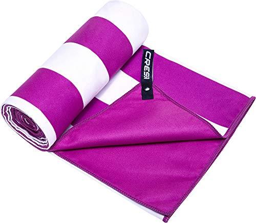Cressi Microfibre Fast Drying Toalla Sport, Unisex Adulto, Blanco/Lila, 90x180 cm