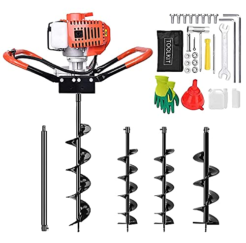 52CC Post Hole Digger, 2-Stroke Gas Powered Auger Post Hole Digger with 3 Earth Auger Drill Bits (5