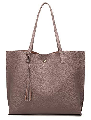 Women's Soft Faux Leather Tote Shoulder Bag from Dreubea, Big Capacity Tassel Handbag Tan