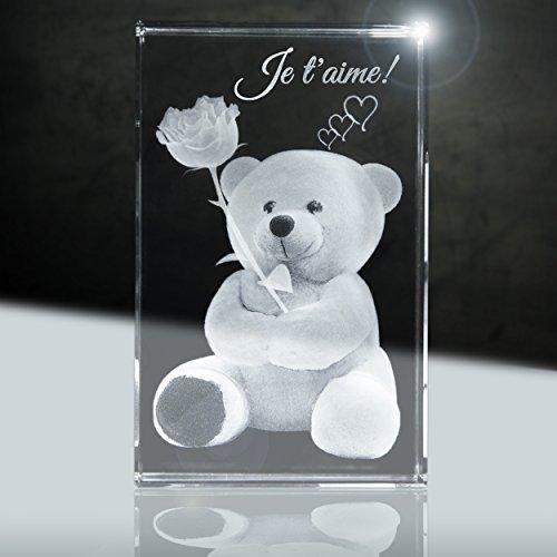 3D Cristal | Je t'aime | Illustration: Ours en Peluche avec Rose