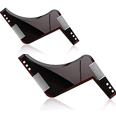 2 Pcs Beard Shaping Tool Template, Beard Styling Template for All-Curve Cut, Step Cut, Neckline & Goatee Beard Shaping Tool in Black and Trim with Beard Trimmer Hair Clipper or Razor from JIZUUU-BBM