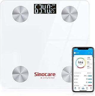 Sinocare Básculas Digitales, Báscula Baño Digital Bluetooth Inteligente Tiene APP, Báscula de Baño Digital Ultrafina con Pantalla LCD, con Sensores de 50G Alta Precisión (ST/KG/LB)180kg/400lbs
