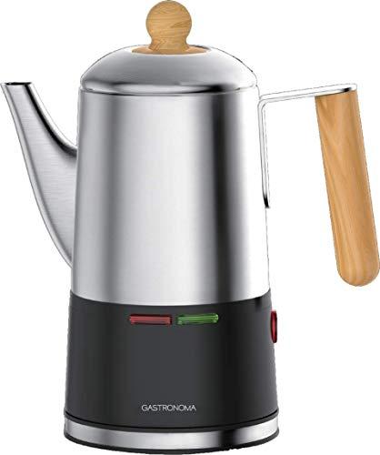 Gastronoma 18150001 Kaffee-Perkolator Kaffeekocher Kaffeemaschine 0,75 Liter 6 Tassen Edelstahl Holz 650 Watt
