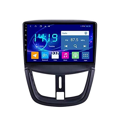 Hesolo El navegador del Reproductor de vídeo del Coche es Compatible con Peugeot 207, vídeo de Marcha atrás del Coche, Pantalla Grande, DVD, Android 9, navegador GPS para Coche, 4G + 64G