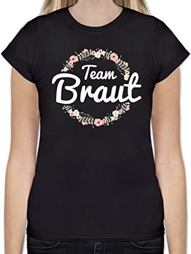 JGA Junggesellinnenabschied - Team Braut Blumenkranz - S - Schwarz - L191 - Tailliertes Tshirt für Damen und Frauen T-Shirt