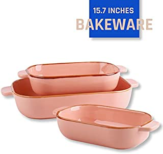 Kvv Rectangular Ceramic Baking Pan, Bakeware Set of 3 Piece,Baking Dishes, Lasagna Pans for Cooking, Kitchen, Cake Dinner, Banquet and Daily Use, 13 x 9 Inches (pink)