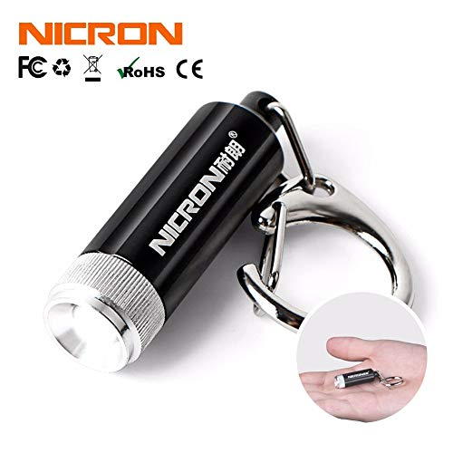 Bianco, Nero: Nicron 0.25W caldo vendita Supoer specchio convesso mini torcia LED micro portachiavi torcia luce Torcia moschettone G10A
